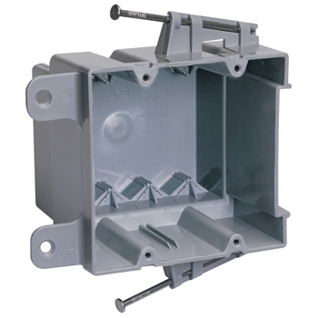 "Pass & Seymour P2-35-RAC 3-31/32 x 3-31/32 x 3-3/8"" 35"" 2-Gang 4 Auto Clamp Switch and Outlet Box with Mounting Hole"