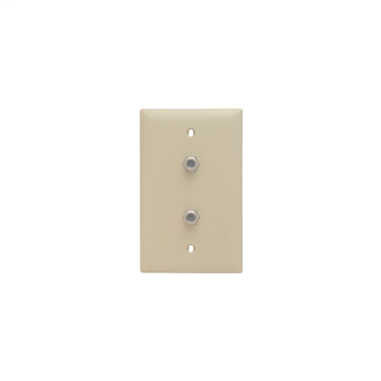 On-Q TPCATV2-I 1-Gang 2-F Coaxial Connector Ivory Nickel Plated Steel Standard Communication Wallplate