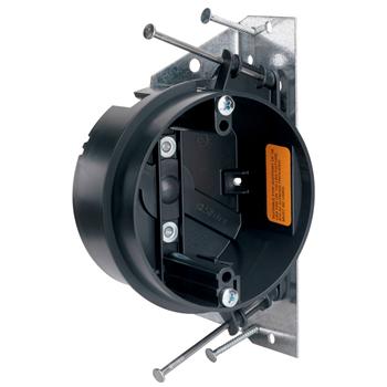 "Pass & Seymour S1-20-JFAN 4 x 2-3/16"" 20.25"" Impact Resistant Nylon Thermoplastic Round Ceiling Fan Box"