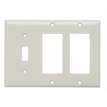 Pass & Seymour SP1262-I 3-Gang 1-Toggle 2-Decorator Ivory Smooth Thermoset Plastic Standard Combination Wallplate