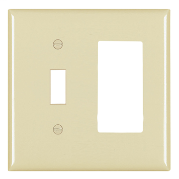 Pass & Seymour TP126-GRY 2-Gang 1-Toggle Switch 1-Decorator Gray Nylon Standard Combination Unbreakable Wallplate