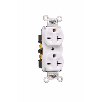 Pass & Seymour 5862-W 20 Amp 250 VAC 2-Pole 3-Wire NEMA 6-20R White Nylon Face PVC Back Body Duplex Receptacle