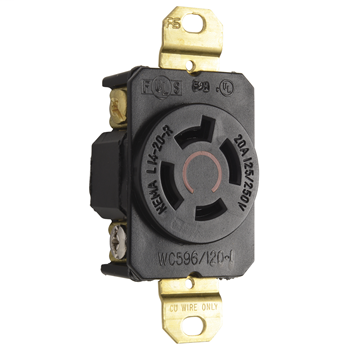Pass & Seymour L1420-R 20 Amp 125/250 VAC 3-Pole 4-Wire NEMA L14-20R Impact-Resistant Nylon Locking Single Receptacle