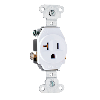 Pass & Seymour 5351-W 20 Amp 125 Vac 2-pole 3-wire Nema 5-20r White Single Receptacle