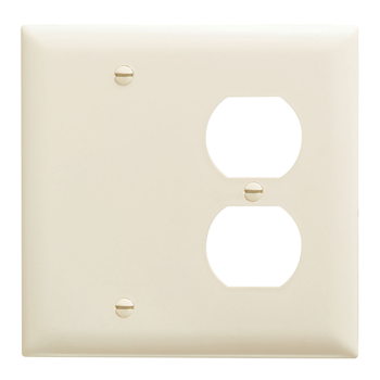 Pass & Seymour TP138-LA 2-Gang 1-Duplex Receptacle 1-Blank Light Almond Nylon Standard Combination Unbreakable Wallplate