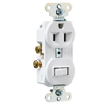 Mayer-15A, 120/125V Combination Single-Pole Switch & Single Receptacle, White 691W-1