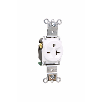 Pass & Seymour 5871-W 20 Amp 250 VAC 2-Pole 3-Wire NEMA 6-20R White Nylon Face Thermoplastic Back Body Single Receptacle
