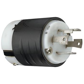 Pass & Seymour L1430-P 30 Amp 125/250 VAC 3-Pole 4-Wire NEMA L14-30P Black and White Nylon Straight Locking Plug