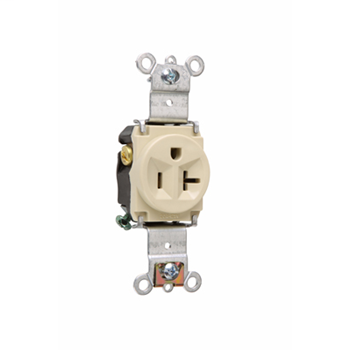 Pass & Seymour 5361-I 20 Amp 125 VAC 2-Pole 3-Wire NEMA 5-20R Ivory Nylon Face Heavy Duty Single Receptacle