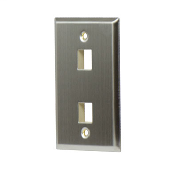 Mayer-1-Gang, 2-Port Wall Plate, Stainless Steel WP3402-SS-1