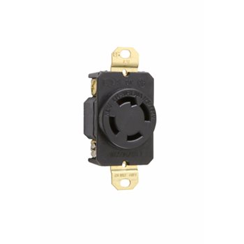 Pass & Seymour L1430-R 30 Amp 125/250 VAC 3-Pole 4-Wire NEMA L14-30R Impact-Resistant Nylon Locking Single Receptacle