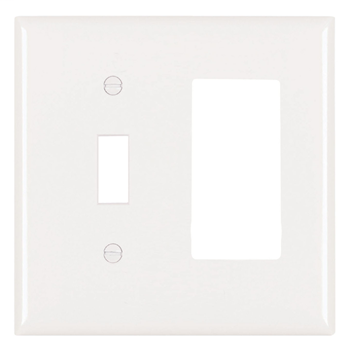Pass & Seymour SP126-W 2-Gang 1-Toggle 1-Decorator White Smooth Thermoset Plastic Standard Combination Wallplate