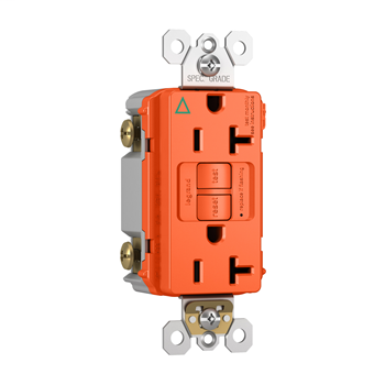 Pass & Seymour 2097-IGTRO 20 Amp 125 VAC 2-Pole 3-Wire NEMA 5-20R Orange Thermoplastic Self-Test Duplex GFCI Receptacle