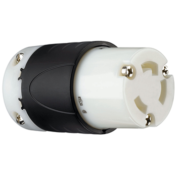 Pass & Seymour L630-C 30 Amp 250 VAC 2-Pole 3-Wire L6-30R Black and White Nylon Locking Connector