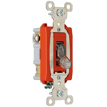 Pass & Seymour PS20AC1-CPL 1-Pole 20 Amp 120 VAC Back and Side Wire Screw Mount Pilot Light Switch