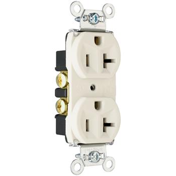 Pass & Seymour 5362-W 20 Amp 125 VAC 2-Pole 3-Wire NEMA 5-20R White Nylon Duplex Receptacle