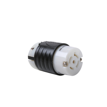 Pass & Seymour L2120-C 20 Amp 120/208 VAC Star 3-Phase 4-Pole 5-Wire L21-20R Black and White Nylon Locking Connector