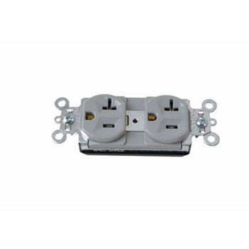 Pass & Seymour PT5362-GRY 20 Amp 125 VAC 2-Pole 3-Wire NEMA 5-20R Gray Nylon Face PVC Back Body Duplex Receptacle