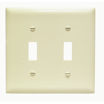 Pass & Seymour TP2-I 2-Gang 2-Toggle Switch Ivory Nylon Standard Unbreakable Wallplate