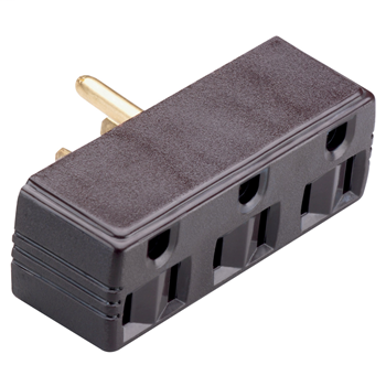 Pass & Seymour 697 Plug-in outlet adapter, single to triple, double pole, triple wire, 15 amp, 125 V - Brown