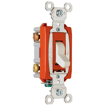 Pass & Seymour PS20AC3-LA 20 Amp 120/277 VAC 3-Way Light Almond Glass Reinforced Nylon Screw Mounting Toggle Switch