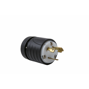 Pass & Seymour L1030-P 30 Amp 125/250 VAC 3-Pole 3-Wire NEMA L10-30P Black and White Nylon Straight Locking Plug
