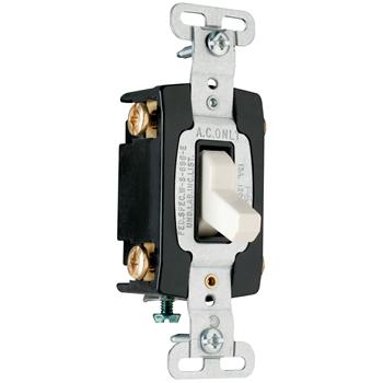 Pass & Seymour CSB15AC4-LA 15 Amp 120/277 VAC 4-Way Light Almond Glass Reinforced Nylon Screw Mounting Toggle Switch