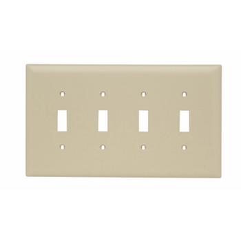 Pass & Seymour TPJ4-I 4-Gang 4-Toggle Switch Ivory Nylon Jumbo Unbreakable Wallplate