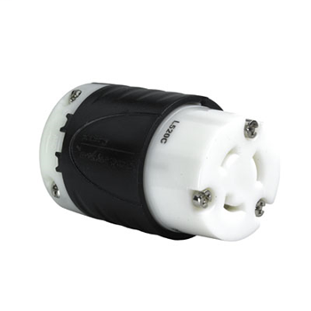 Mayer-20 Amp NEMA Connector L520 - Black Back, White Front Body L520C-1
