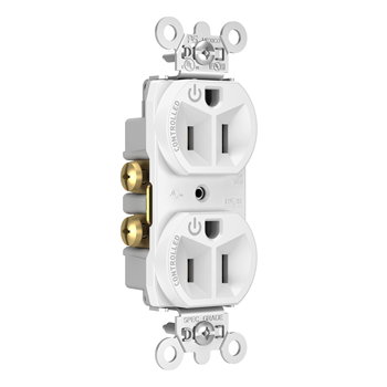 Mayer-15A, 125V Dual-Controlled Plug Load Controllable Receptacle, White 5262CDW-1