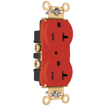 Pass & Seymour PS5362-RED 20 Amp 125 VAC 2-Pole 3-Wire NEMA 5-20R Red Nylon Face PVC Body Heavy Duty Duplex Receptacle
