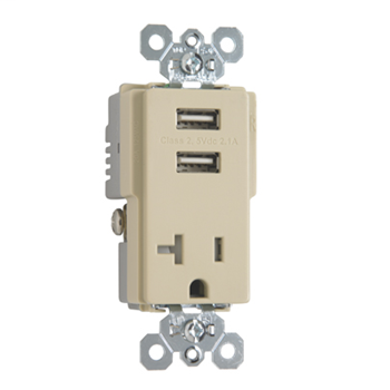 Pass & Seymour TR5361USBI 20 Amp 125 VAC 2-Pole 3-Wire Ivory Decorator USB Charger Receptacle