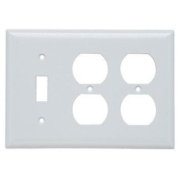 Pass & Seymour SP182-W 3-Gang 1-Toggle 2-Duplex White Smooth Thermoset Plastic Standard Combination Wallplate