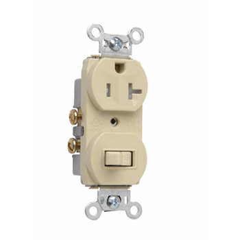 Mayer-20A, 120/125V Combination Single-Pole Switch & Tamper-Resistant Single Receptacle, Ivory 671TRI-1