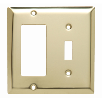 Pass & Seymour SB126-PB 2-Gang 1-Toggle Switch 1-Decorator Gray Smooth Polished Brass Standard Combination Wallplate