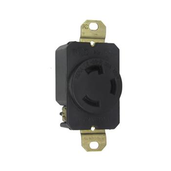 Pass & Seymour L530-R 30 Amp 125 VAC 2-Pole 3-Wire NEMA L5-30R Impact-Resistant Nylon Locking Single Receptacle