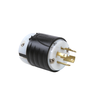 Pass & Seymour L1520-P 20 Amp 250 VAC 3-Phase 3-Pole 4-Wire NEMA L15-20P Black and White Nylon Straight Locking Plug