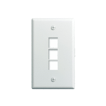 On-Q WP3403-WH 1-Gang 3-Port White High Impact Flame Retardant Plastic Keystone Wallplate