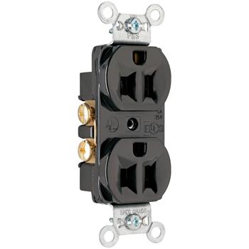 Pass & Seymour CRB5262-BK 15 Amp 125 VAC 2-Pole 3-Wire NEMA 5-15R Black Nylon Face Duplex Straight Blade Receptacle