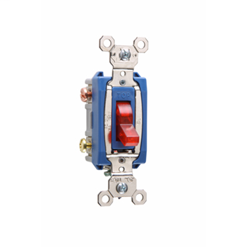 Pass & Seymour PS15AC3-RPL 15 Amp 120 VAC 3-Way Red Glass Reinforced Nylon Screw Mounting Pilot Lighted Toggle Switch