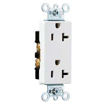 Pass & Seymour 26342-W 20 Amp 125 VAC 2-Pole 3-Wire NEMA 5-20R White Nylon Face Heavy Duty Duplex Decorator Receptacle