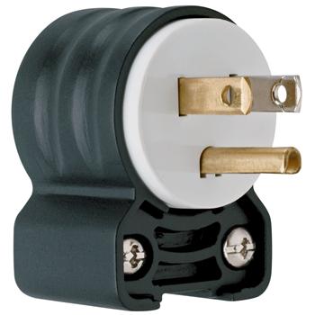 Pass & Seymour PS5266-SSAN 15 Amp 125 VAC 2-Pole 3-Wire NEMA 5-15P Black and White Nylon Angled Polarized Straight Blade Plug