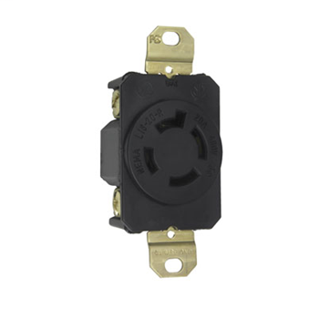 Pass & Seymour L1620-R 20 Amp 480 VAC 3-Phase 3-Pole 4-Wire NEMA L16-20R Impact Resistant Nylon Locking Single Receptacle