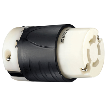 Pass & Seymour L1520-C 20 Amp 250 VAC 3-Phase 3-Pole 4-Wire L15-20R Black and White Nylon Locking Connector