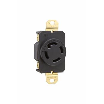 Pass & Seymour L1930R 30 Amp 277/480 VAC 3-Phase 4-Pole 4-Wire NEMA L19-30R Impact Resistant Nylon Locking Single Receptacle