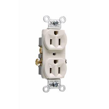 Pass & Seymour CR15-LA 15 Amp 125 VAC 2-Pole 3-Wire NEMA 5-15R Light Almond Nylon Face Corrosion-Resistant Duplex Receptacle