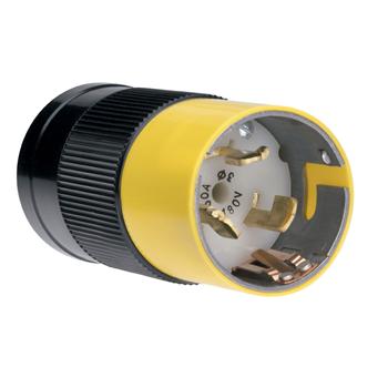 Pass & Seymour CS8165 50 Amp 480 VAC 3-Phase 3-Pole 4-Wire Nylon Straight Locking Plug
