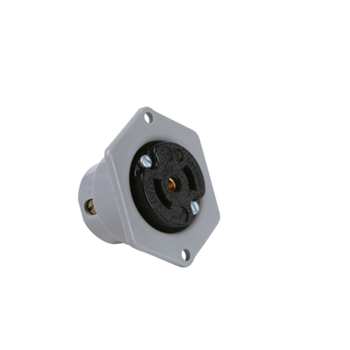 Pass & Seymour ML314 125 to 250 Volt 15 Amp 3-Pole 3-Wire NEMA 3-15R Black Face Gray Flange Locking Device Outlet