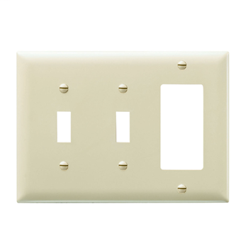 Pass & Seymour TP226-I 3-Gang 2-Toggle Switch 1-Decorator Ivory Nylon Standard Combination Unbreakable Wallplate