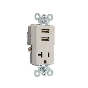Pass & Seymour TR5361USB-W 20 Amp 125 VAC 2-Pole 3-Wire White Decorator USB Charger Receptacle